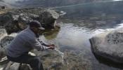 La laguna Kasiri, donde estuvo ayer el presidente Evo Morales, puede ser una fuente de abastecimiento para La Paz.