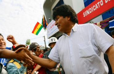 Presidente Evo Morales en Sede para sindicato de choferes de Cobija