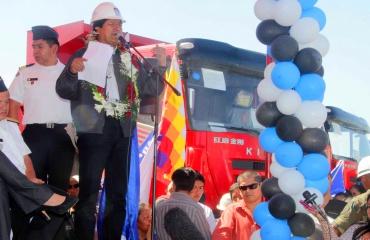 Presidente Evo Morales en la entrega de lote de maquinaria para la construcción de la carretera San Ignacio de Moxos - Trinidad