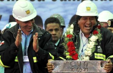 Vicepresidente y Presidente en inauguración de karachipampa