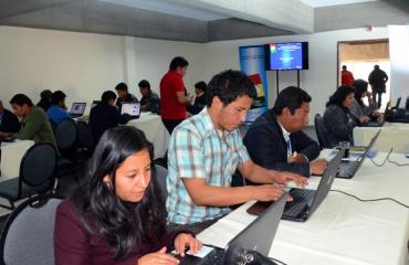 Periodistas en sala de prensa Foro Sao Paulo